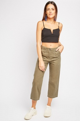 Buckle Waist Detail Utility Trousers