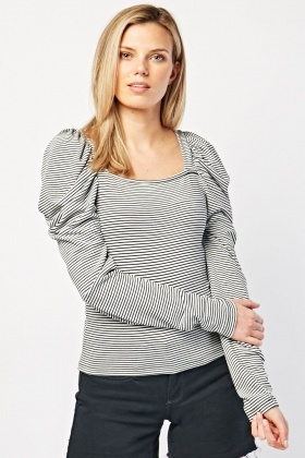 Gathered Sleeve Striped Top