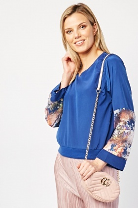 Sheer Floral Sleeve Panel Top