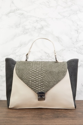 Mock Croc Contrasted Large Handbag