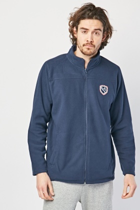 Embroidered Patch Front Fleece Jacket