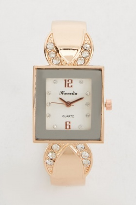 Encrusted Strap Square Face Watch