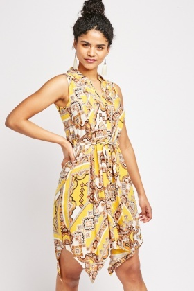 Pleated Panel Ethnic Print Dress