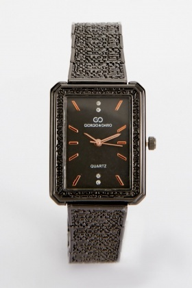 Square Face Encrusted Watch