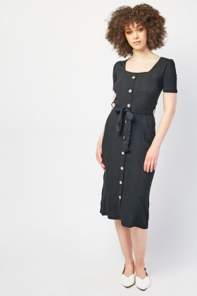 Square Neck Textured Midi Dress