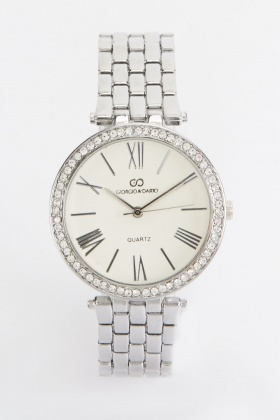 Textured Strap Round Face Watch