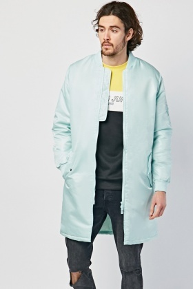 Zip Up Long Bomber Jacket