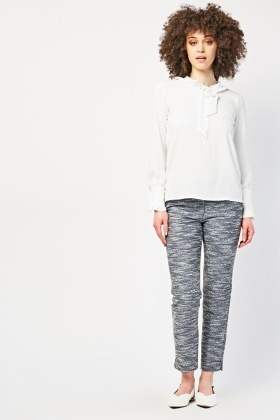 Bobble Knit Textured Cigarette Trousers