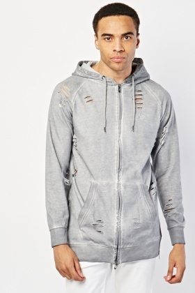 Distressed Zipper Hoodie