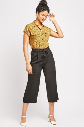 Tie Up Black Trousers