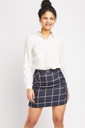 Mini Windowpane Mini Skirt