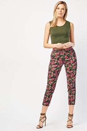 Vintage Lily Flower Print Trousers