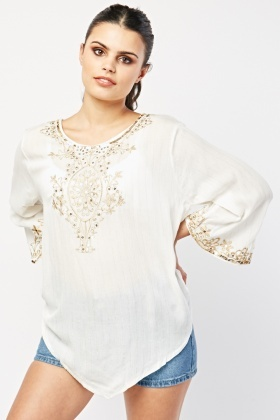 Ethnic Embroidered Sequin Blouse