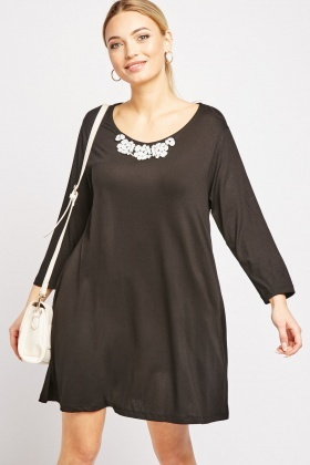 Gemstone Embellished Tunic Dress