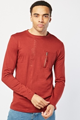 Long Sleeve Single Pocket Front Top