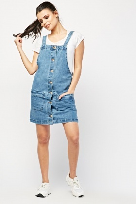 Twin Pocket Front Dungaree Dress