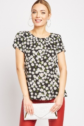 Daisy Print Flower Top