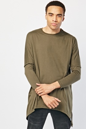 Khaki Contrasted Sleeve Top
