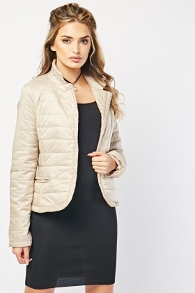 Lapel Front Quilted Jacket