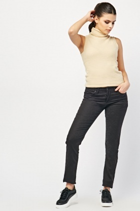 Mid Rise Black Skinny Fit Jeans