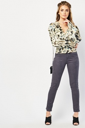 Patterned Skinny Charcoal Jeans