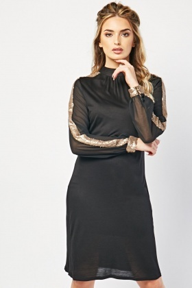 Sequin Sleeve Trim Shift Dress