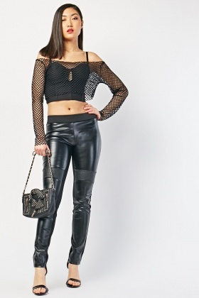 Contrasted Faux Leather Leggings
