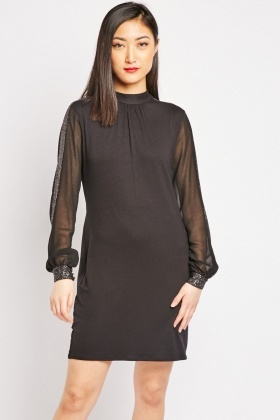 Shimmery Sleeve Panel Shift Dress