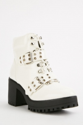 Buckle Eyelet Strap Ankle Boots