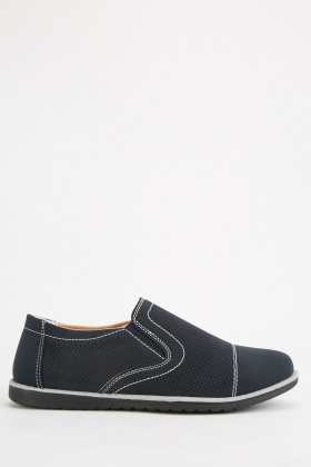 Perforated Slip On Mens Plimsolls