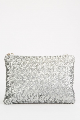 Sequin Overlay Pouch Bag