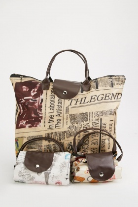Set Of 3 Foldable Printed Tote Bag
