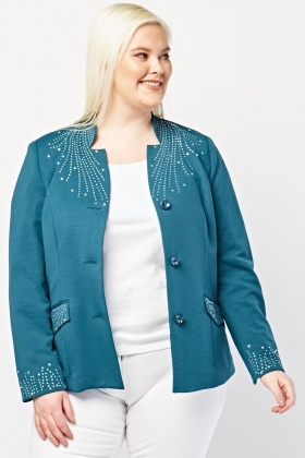 Encrusted Trim Open Front Blazer