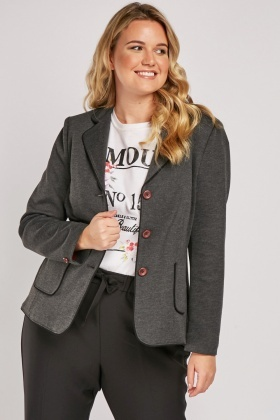 Lapel Front Speckled Blazer