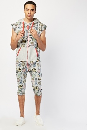 Novelty Print Hooded Onesie