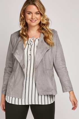 Perforated Waterfall Suedette Jacket