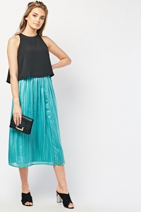 Shimmery Striped Midi Skirt