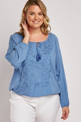 Stitched Flower Pattern Blouse