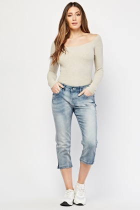 Washed Blue Crop Jeans