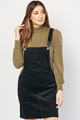 Corduroy Mini Dungaree Dress