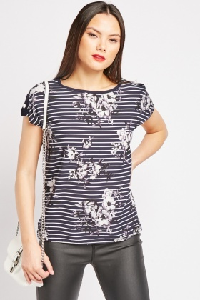 Floral Stripe Basic Top