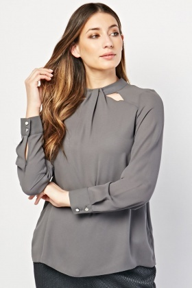 Keyhole Cut Out Neck Blouse