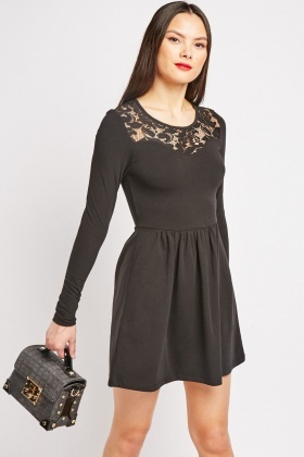 Lace Keyhole Back Skater Dress