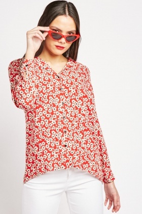Long Sleeve Daisy Print Blouse