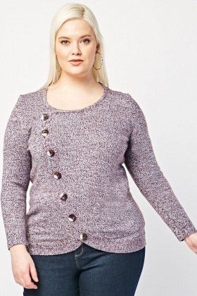 Speckled Button Detail Knit Jumper
