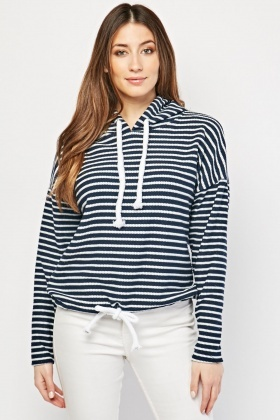 Striped Textured Hoodie