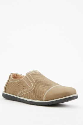 Camel Laser Cut Mens Shoes