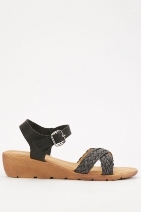 Cross-Strap Low Wedge Sandals