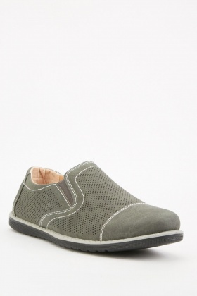 Grey Mens Laser Cut Shoes