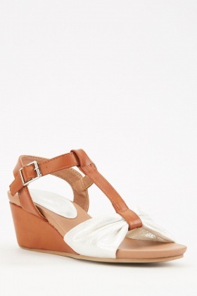 Shimmery Front Wedge Sandals